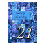 21st Birthday card with abstract squares.
