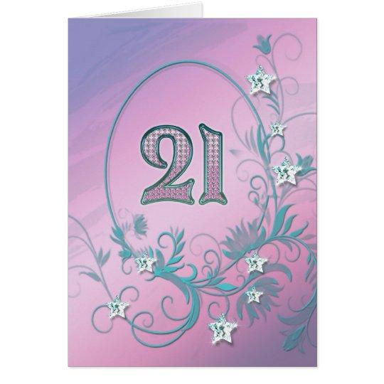 21st Birthday card with diamond stars