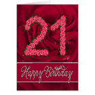 21st birthday card with roses and leaves