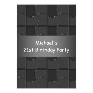 21st Birthday Charcoal Black Puzzle Pattern 9 Cm X 13 Cm Invitation Card