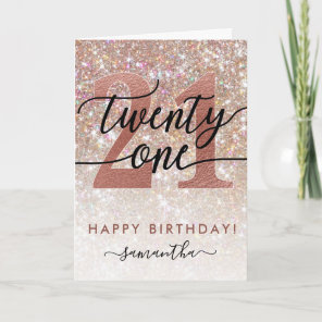 21st Birthday Chic Glitter Ombre Card