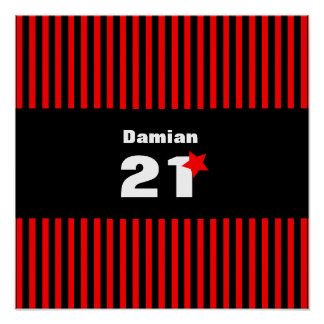 21st Birthday Collection Red Black Stripes A01 Poster