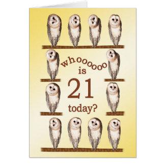 21st birthday, Curious owls card. Card