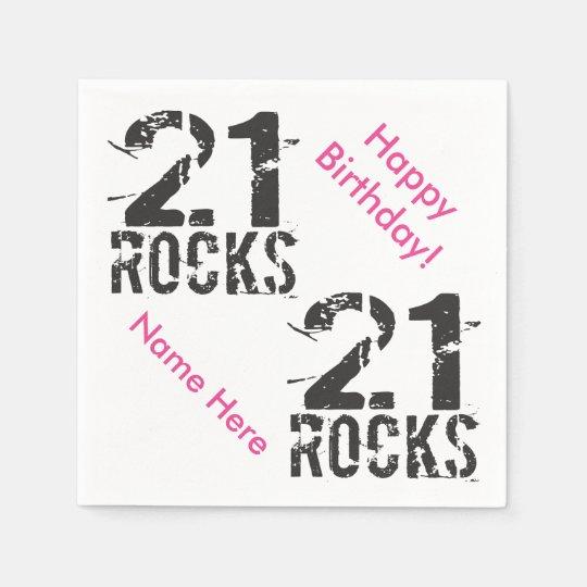 21st Birthday Custom Name PINK 21 Rocks Paper