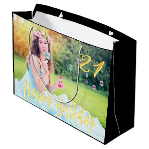 21st Birthday Custom Photo Large Gift Bag Black