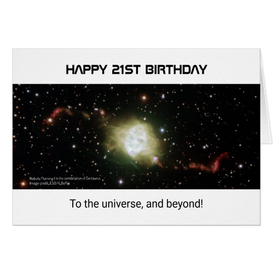 21st birthday custom text nebula universe card