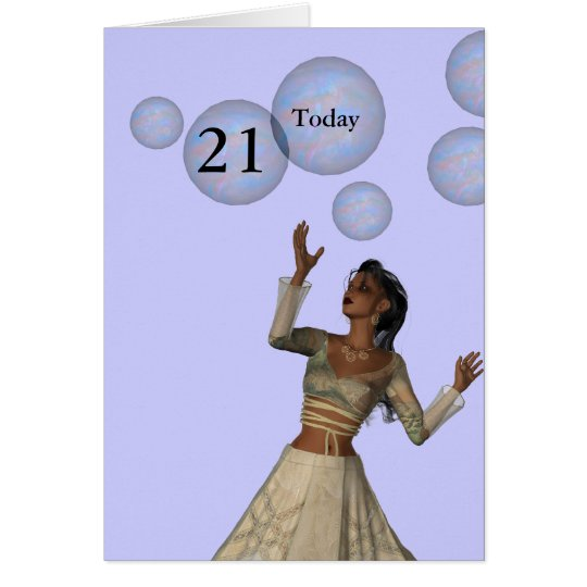 21st Birthday Fairy and Bubbles Card