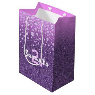 21st Birthday Faux Diamonds On Purple Pink Glitter Medium Gift Bag