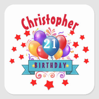 21st Birthday Festive Colorful Balloons C01AZ Square Sticker