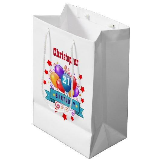 21st Birthday Festive Colourful Balloons C01AZ Medium Gift Bag