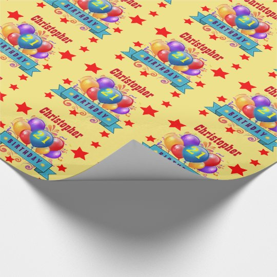 21st Birthday Festive Colourful Balloons C01AZ Wrapping Paper