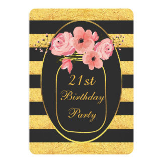 21st Birthday Floral Mason Jar Gold Stripes 13 Cm X 18 Cm Invitation Card