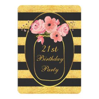 21st Birthday Floral Mason Jar Gold Stripes Card