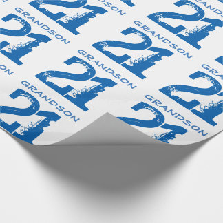 21st Birthday for a grandson, blue text on white. Wrapping Paper