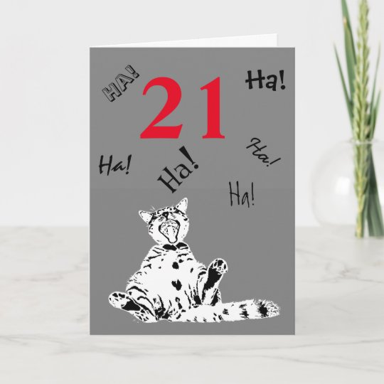 21st Birthday Funny Cat For Male Card