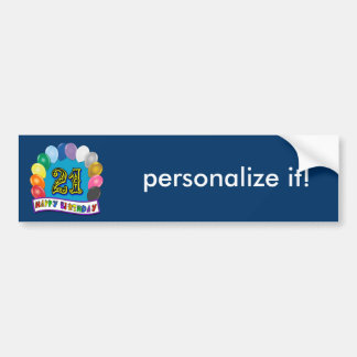 21st Birthday Gifts with Assorted Balloons Design Bumper Sticker