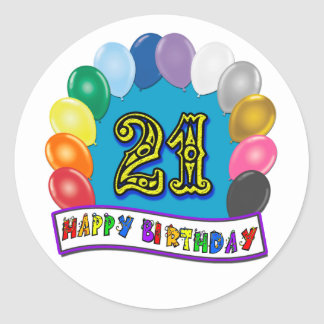 21st Birthday Gifts with Assorted Balloons Design Round Sticker
