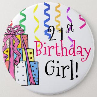 21st Birthday Girl Large 6 Cm Round Badge