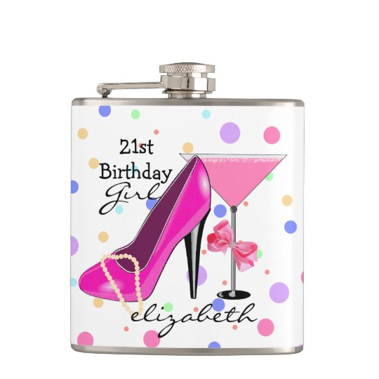 21st Birthday Girl Pink High Heel Personalised Hip