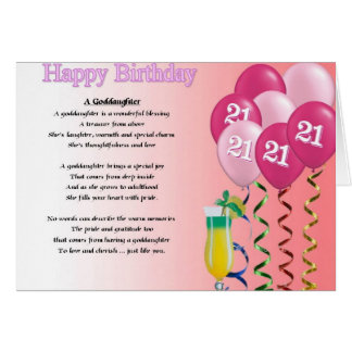 21st Birthday Goddaughter Poem Greeting Card