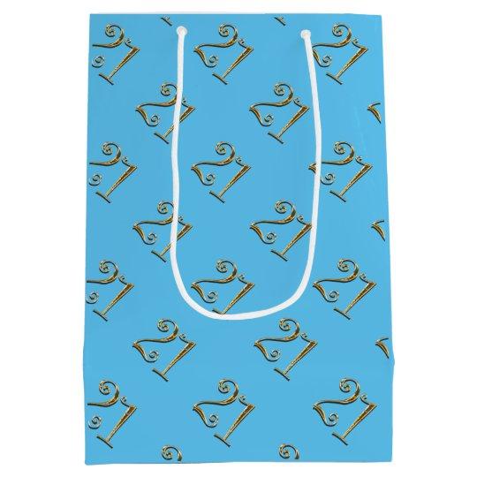 21st birthday gold blue elegant medium gift bag