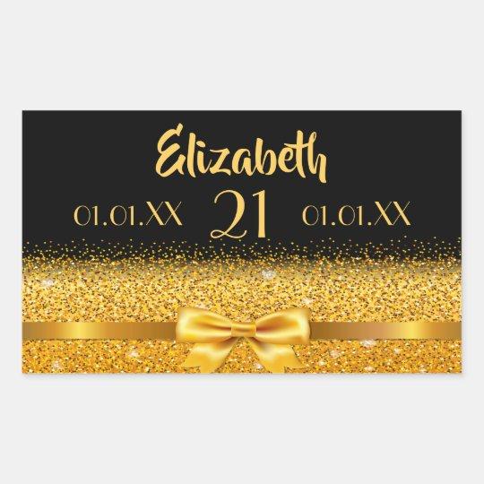 21st birthday gold bow with ribbon on black date rectangular sticker