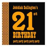 21st Birthday Gold Checks for Him G531 Personalised Invitation