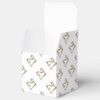 21st birthday gold white elegant favour box