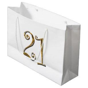 21st Birthday Gold White Elegant Large Gift Bag