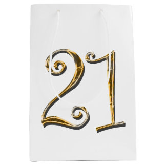 21st birthday gold white elegant medium gift bag