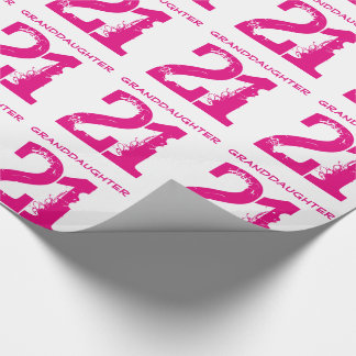 21st Birthday granddaughter, pink text on white. Wrapping Paper