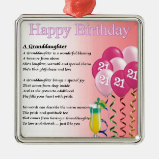21st Birthday Granddaughter Poem Christmas Ornament