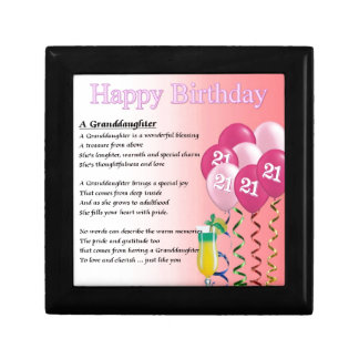 21st Birthday Granddaughter Poem Gift Box