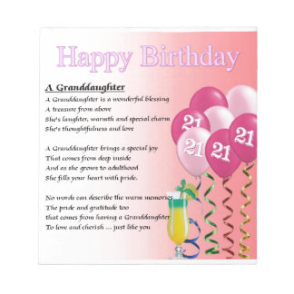21st Birthday Granddaughter Poem Notepad