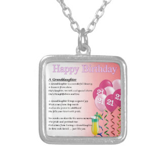 21st Birthday Granddaughter Poem Silver Plated Necklace