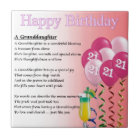 21st Birthday Granddaughter Poem Tile