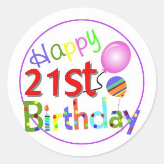 21st birthday greetings round sticker