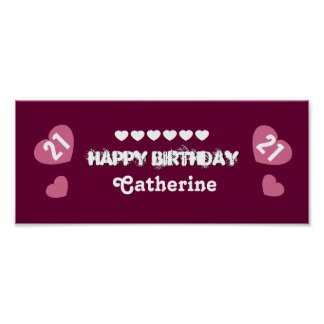 21st Birthday Heart Banner Custom Name V21H HEARTS Poster