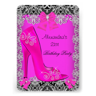 21st Birthday Hot Pink High Heel Shoe Lace 3 Personalized Invite