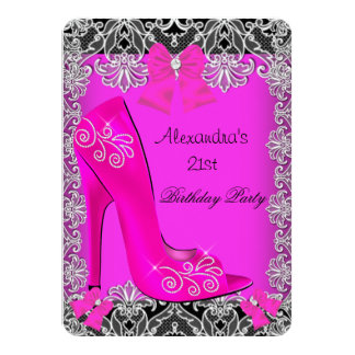 21st Birthday Hot Pink High Heel Shoe Lace 3 4.5x6.25 Paper Invitation Card