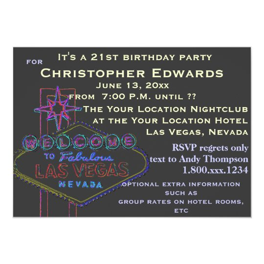21st Birthday in Las Vegas for Male Card