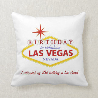 21st birthday in Las Vegas Pillow PERSONALIZED Cushions
