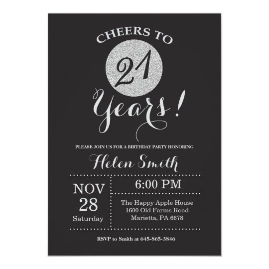 21st Birthday Invitation Black and Silver Glitter