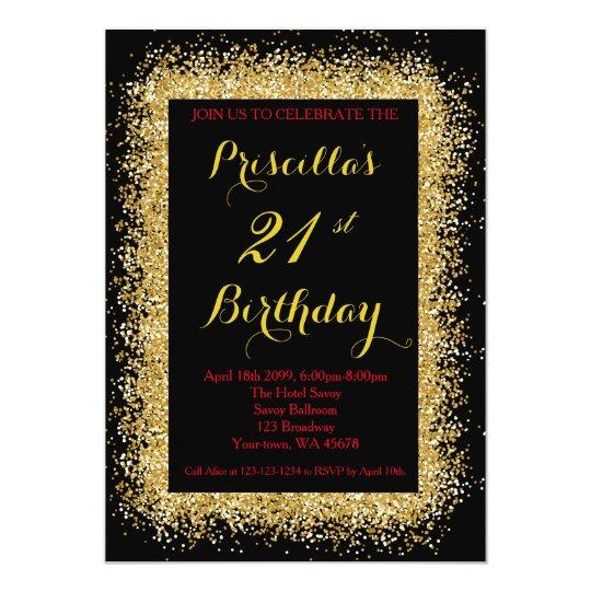 21st Birthday invitation, black, confetti, gold Card