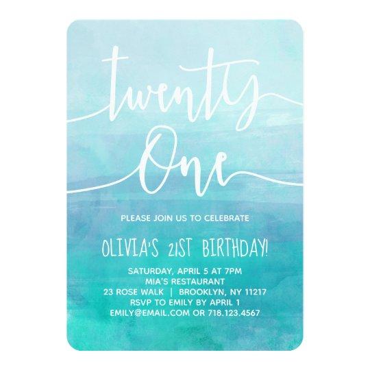 21st Birthday Invitation Blue Watercolor Ombre