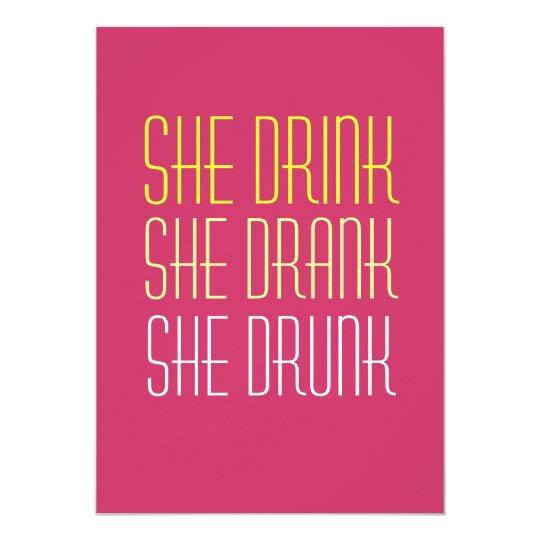 21st Birthday Invitation -Drink Drank Drunk
