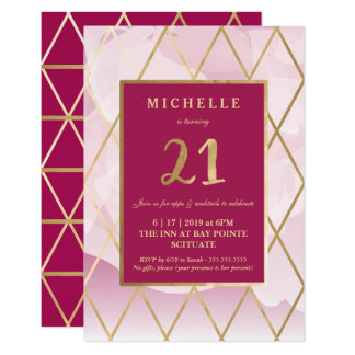 21st Birthday Invitation - Gold, Elegant, Trendy