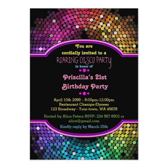 21st Birthday invitation Party, Disco Party,Gatsby