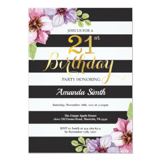21st Birthday Invitation Women. Floral Gold Black
