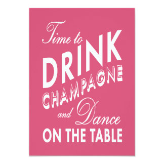 21st Birthday Invite Time to Drink Champagne pink